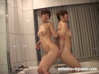 Lascivious japanese lesbo sluts snatch eating after shower