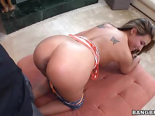 Sweetheart takes her 1st large dark cock doggy style