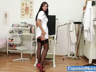 Wicked leggy nurse Nikki plays with clit pump