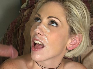 Kasey Grant receives facial cumshot