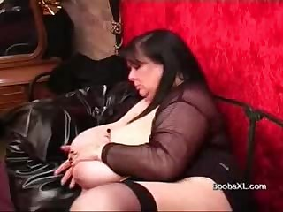 German Goth BBW shows her impressive Breasts