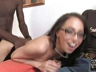 Nerdy brunette with glasses on touching black fishnet nylons gets slammed