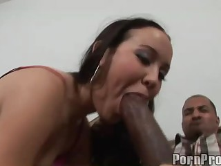 Amai Liu is a petite alluring girl. She's curious about huge darksome dicks. This one is enormous. That babe gives extreme blowjob and then shows off her bare apple ass to her black skinned buddy.