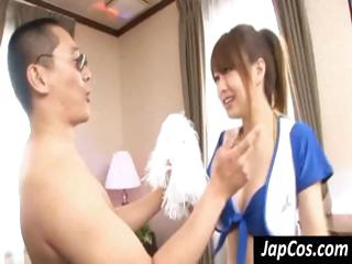 Japanese girl gets bent over and pounded by concupiscent dude's cock