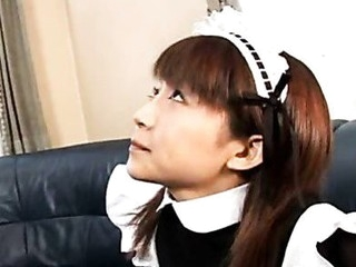 Pretty Japanese maid cleans up her slavemaster's equipment
