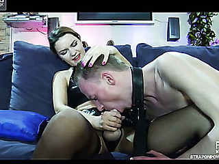 Pliant guy gets face drilled and booty plundered by his mistress
