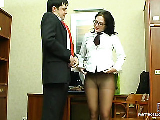Red sexy sec and her co-worker using lacy pantyhose during a wild weenie break