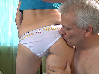 Sexy angel lets a horny dad play her sub worshipping each inch of her body