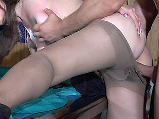 Seductive sweetheart clad in smooth hose rubbing her crotch in advance of hawt fucking