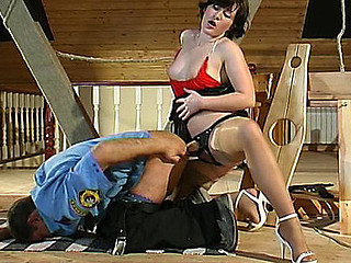 Dirty patrolman prefers taking strap-on give his wazoo from curvaceous sweetheart