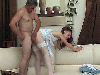 Red-haired girlie spying with regard to hung older male ready be advisable for fucking experiments