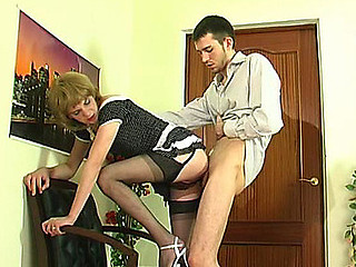 Upskirt homo sissy in soft nylons giving head and getting banged from behind