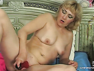 Golden-haired aged chick showing her slutty nature fucking with a sex-mad guy