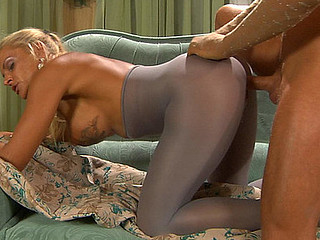 Excitable spoil wears her ancient crotchless hose for sex-mad hawt screwing