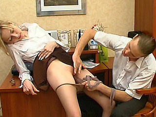 Lusty female co-worker getting silky hose pushed into her rock hard snatch