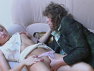 Youthful applicant tempted by older nylon mad gal right at her job interview