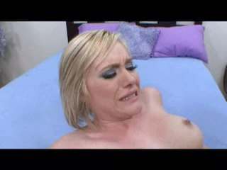 Hawt blond Naomi Cruise getting a verge on shacking up and her gut covered in cum