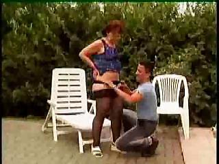 Granny In Glasses And Stockings Outdoor Shave And Poke