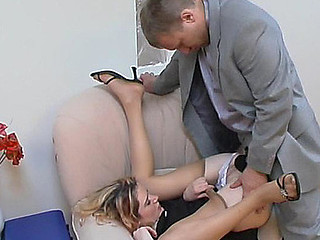 Wettish secretary giving wang a priceless tug engulfing on it throughout darksome tights