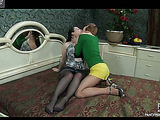 Heated brunette hair widen-eagled in her ripped open tights for enjoy tunnel fondling