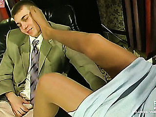 Barbara&Patrick having nylon footsex