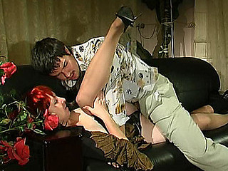 Fiery mamma widening her stockinged legs luring a boy to give her hard doggy
