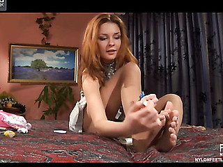 Stephanie nylon feet teaser