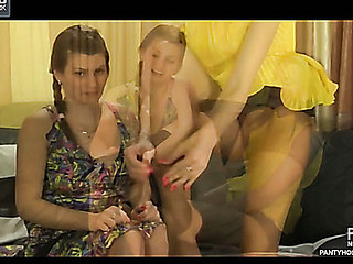 Powered lezzie teases her roommate with her progressive pantyhose previous to lez act