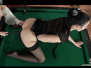 Horny lezzie in tan stocking using a cue for lez games with her steady old-fashioned