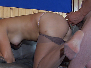 Mischievous honey in ancient reinforced toes pantyhose reachable for unending doggie