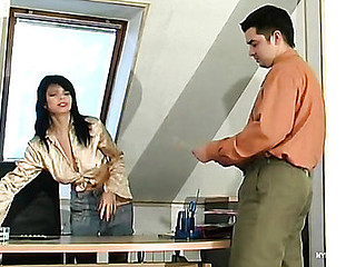 Red despondent secretary in silky nylons revealing their way fucking skills at work