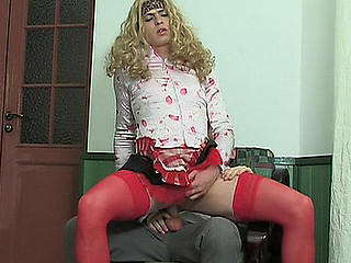 Blonde sissy guy in female raiment getting donk drilled in every which way