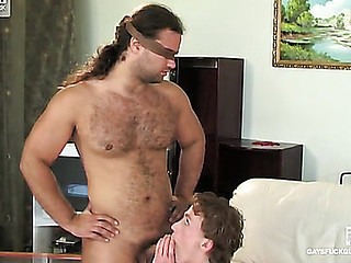 Blindfolded stud feeds his relations substantiate to a gay mate in support of pushing it up his butt