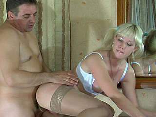 Venerable gent and a cute lady exchange oral job here advance of going for depraved screwing