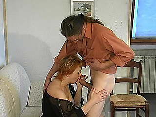 Lascivious older girl getting banged from one as well as the other her ends right on the sofa