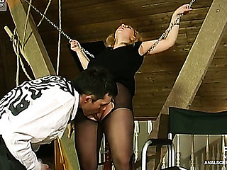 Hiding away at the attic a curvy golden-haired gets her bum rammed thru her tights