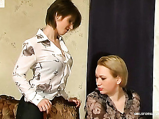 Bored mother i'd like to fuck getting bent down by her younger co-worker for muff fingering