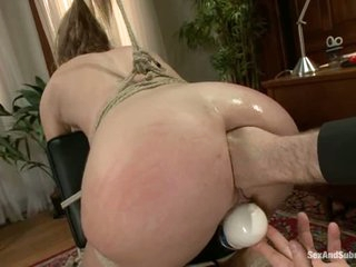 Sex slave Chastity Lynn receives her asshole stretched with no mercy in this bdsm scene. That babe receives her ass fisted and then filled with master's unyielding cock.
