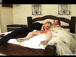 Mischievous shemale bride stuffing her rod into her fiance