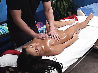 Dark Brown sweetheart from this action looks great in clothes and even greater amount good when this babe stays nude. See how pal massages her wonderful well-tanned body with oil and stuffs her fur pie by his pulsating unyielding knob.