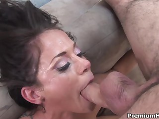 Insane deepthroat action with busty brunette Savannah Stern