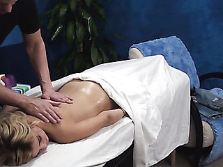 Blondie is pounded very well after getting wonderful massage