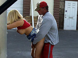 Very weird couple come to a conclusion to make a very public sextape behind a warehouse parking lot. The dude's girlfriend or soever that babe is, is fucking smokin' sexy with large bumpers...