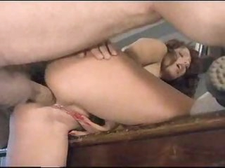 Anal sex brunette hair rubs her charming twat