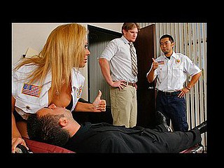 Keiran accidentally slides on transmitted to floor at work and hurts his back. When his fellow Matt walks in this wretch tries helping him out but this wretch is in to much longing so this wretch calls transmitted to ambulance for him. When transmitted to paramedics arrive Rachel Starr makes utter go off at a tangent wretch nurses Keiran back to health hard by giving him 'The Medic Particular.'
