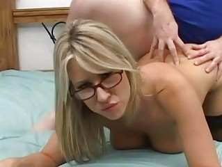 Busty blond with glasses in stocking  gets stiff pecker up her slit