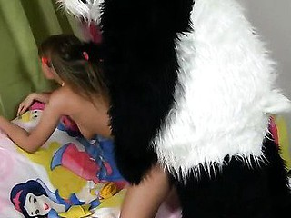 Twister is such a hawt game! Especially if you play with a busty teenage in hawt underware. It's impossible not to acquire hard, even a cute panda bear got a boner. However, the naughty legal age teenager loved that. I guess this babe's been dreaming of having sex with large toys for ages, 'cause that babe willingly sucked the panda off and let him drill her oozing cum-hole in any position possible. Wow, this steamy teenporn movie is definitely one of the coolest and funniest sex toy porn movies ever! Really, have you ever seen a panda ...