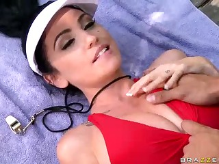 Busty brunette in red Emmanuelle London doing it at the poolside