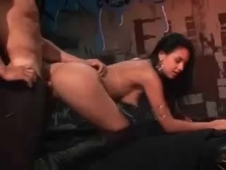 Club gal in shoes plowed by a large cock