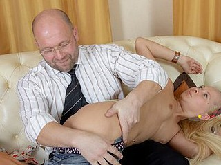 Juvenile whore receives her grades for deep oral.